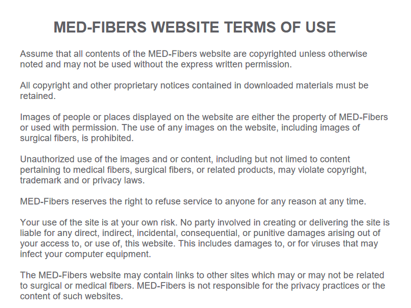 medical laser fibers, medical fibers website terms of use